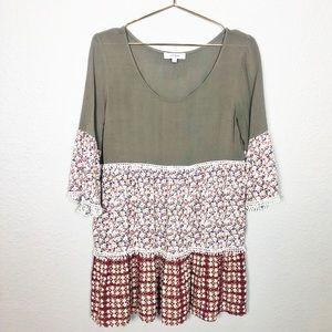 Umgee Boho Mixed Print Crochet Lace Trim Tunic
